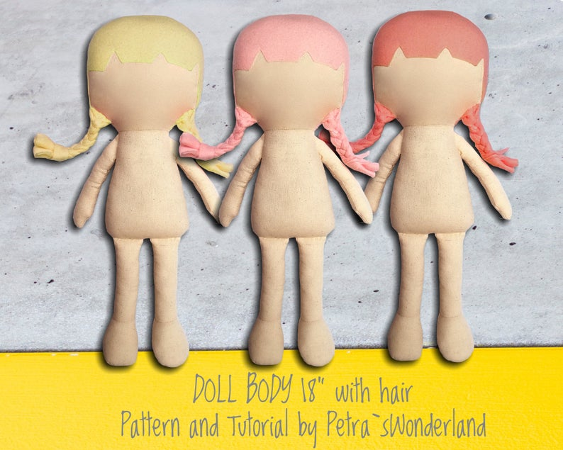 "PDF Rag Doll Pattern 18"", PDF Sewing Tutorial for Blank Body Cloth Doll Pattern, Easy Pattern, Doll pattern DIY, Soft Doll Pattern with Hair #instructionstodollpatterns"