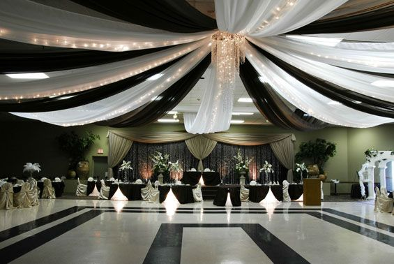 Dramatic Black And White Ceiling Draping With Lights Centered Over The Dance Floor Gorgeous