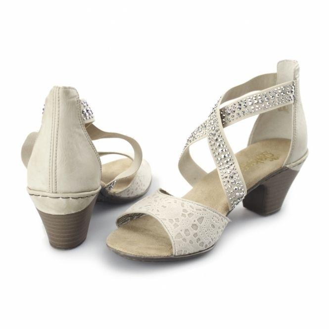 61 Diamante Ladies BeigeShuperb Sandals Heeled Rieker 67693 qL5j34AR