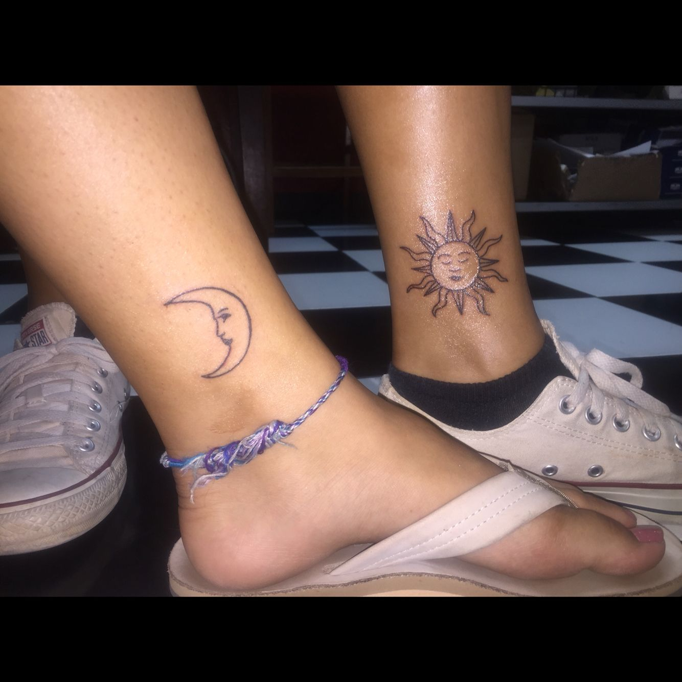 Sun And Moon Matching Tattoos Inside Left Leg Just Above The Ankle