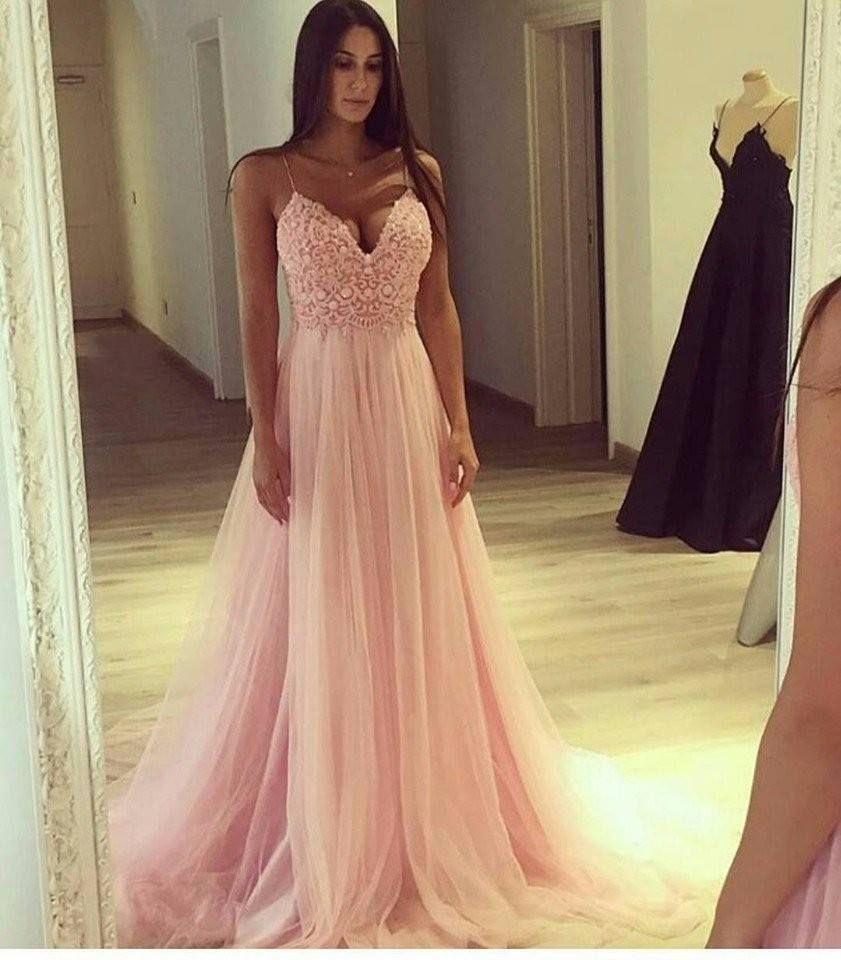 abendkleid lang rosa  light pink prom dress prom dresses