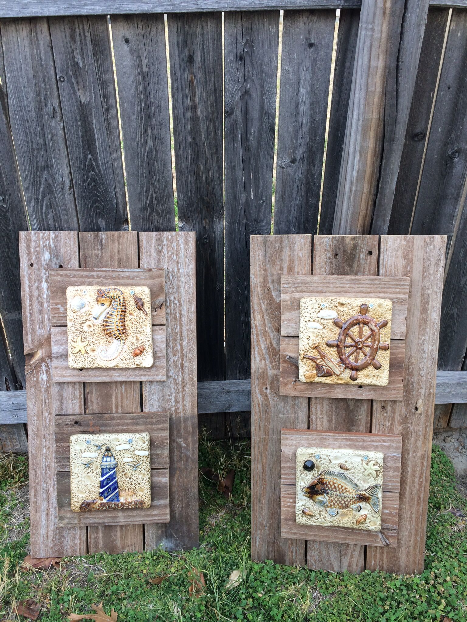 Diy nautical patio decor made out old fence post decorative tile diy nautical patio decor made out old fence post decorative tile baanklon Image collections