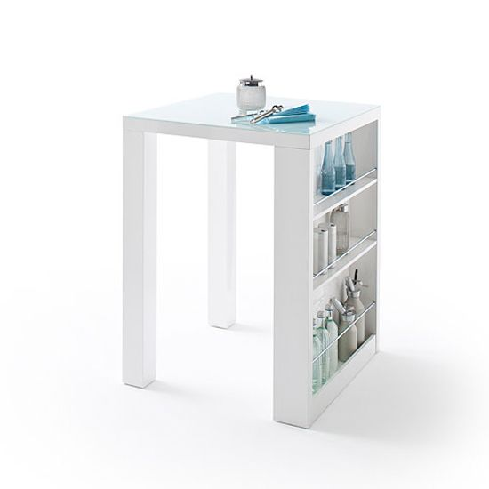 Club Square High Bar Table In White Gloss And Glass With Shelves