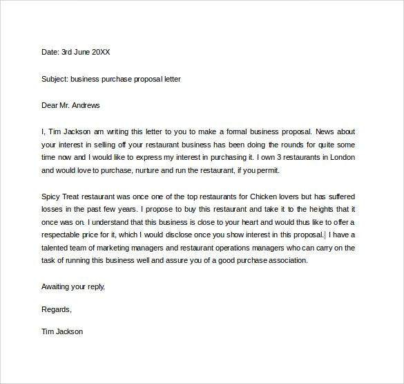 business purchase proposal letter useful document samples