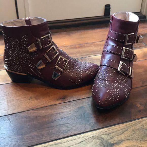 Burgundy & Gold Stud Boots (40) in 2018   My Posh Picks