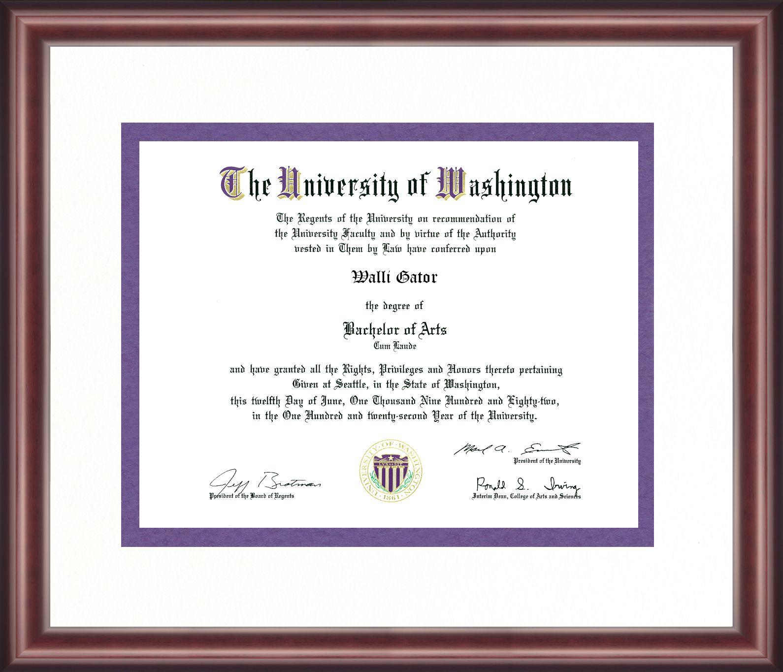 University Of Washington Diploma Frame Diploma Frame University