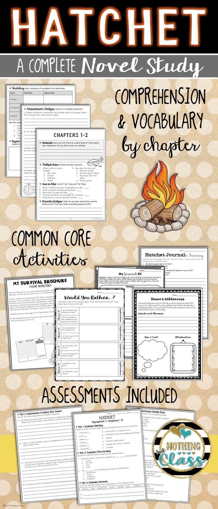 Hatchet Novel Study Unit: comprehension, vocabulary, activities