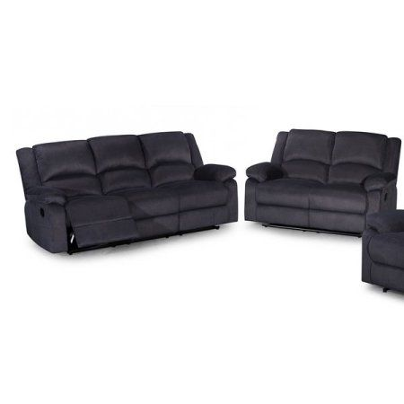 Us Pride Furniture Gus Contemporary 2 Piece Microfiber Fabric Reclining Sofa Set Dark Grey S6027 2pc Re 3 Piece Living Room Set Reclining Sofa Grey Sofa Set