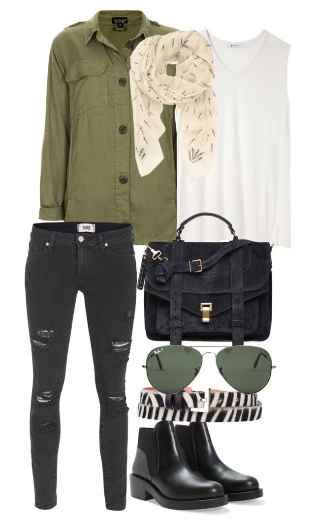 """""""Untitled #1829"""" by bubbles-wardrobe ❤ liked on Polyvore featuring Topshop, T By Alexander Wang, rag & bone, Paige Denim, Proenza Schouler, Zara, Maison Boinet and Ray-Ban"""