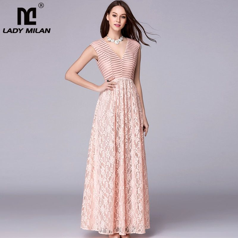 14dd9f05fc9 Sexy V Neck Embroidery Lace Patchwork Elegant Party Prom Floor Length  Runway Dresses