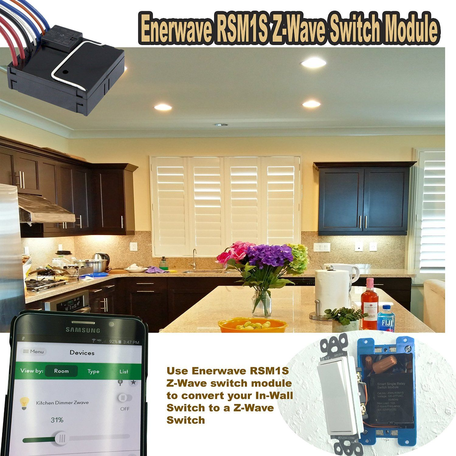 Enerwave Zwn Rsm1s Z Wave Smart Single Relay Switch Module With Bypass Function Amazoncom