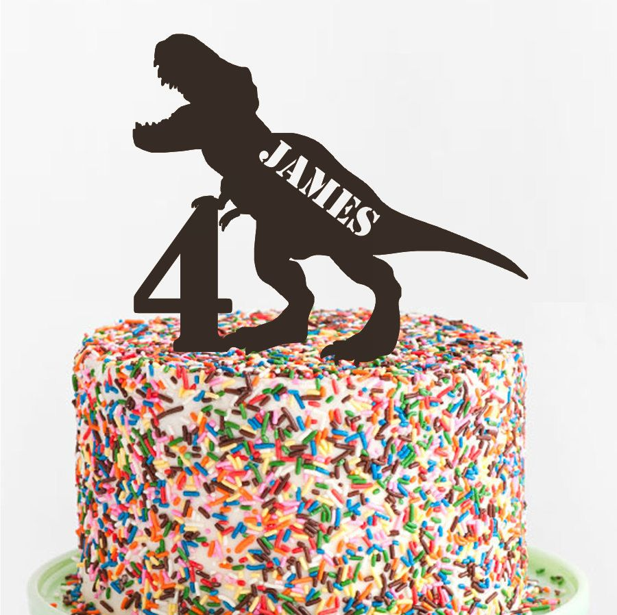 Photo of T-Rex Birthday Cake Topper- Custom Acrylic Cake Topper – Laser Cut – Variety of Colors – Dinosaur Birthday – Cake Decoration – Kids Birthday