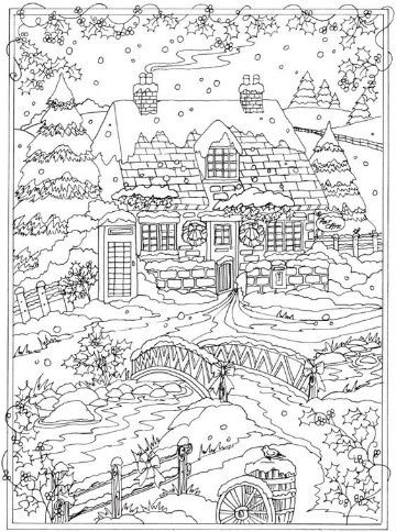 christmas detailed coloring pages | imagenes de invierno para colorear para imprimir | Dibujos ...