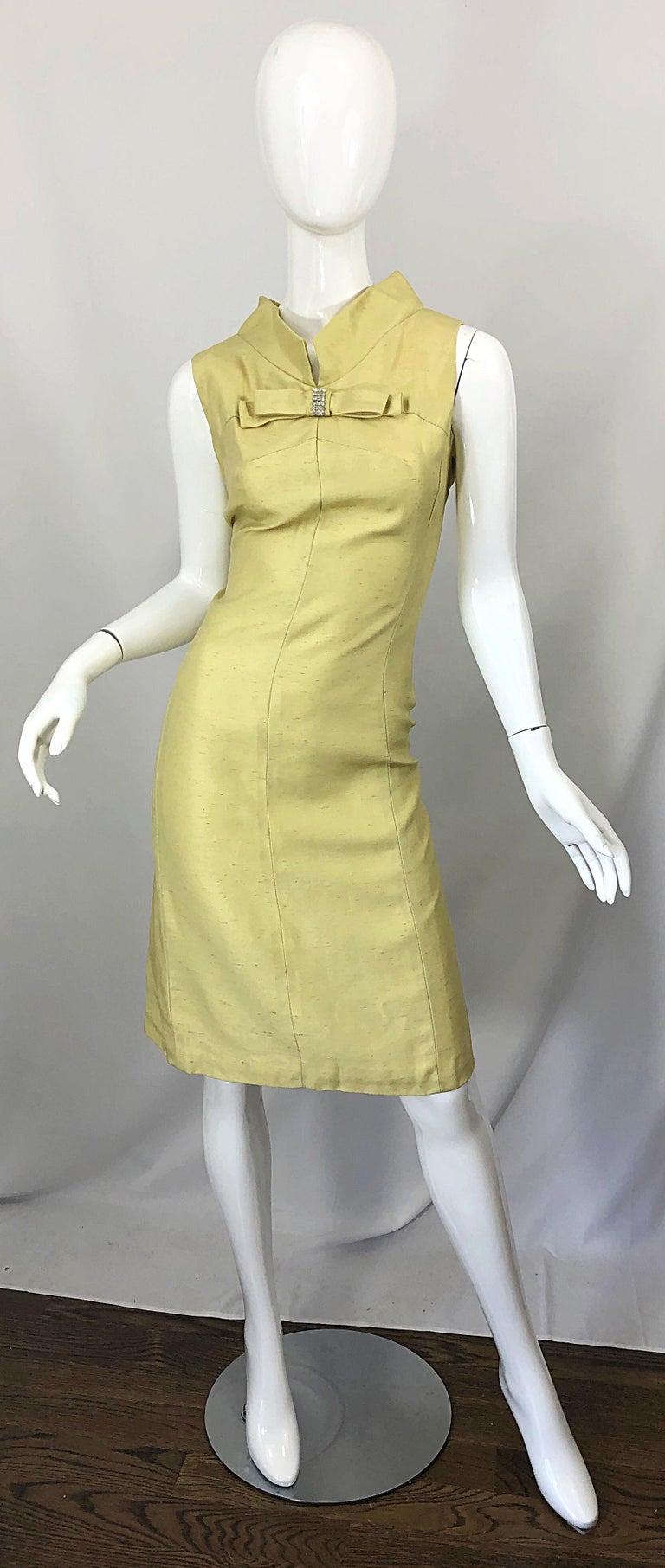 Chic 1960s I Magnin Yellow Silk Shantung Rhinestone Bow Vintage 60s Shift Dress Shift Dress Dropwaist Dress Clothes [ 1812 x 768 Pixel ]