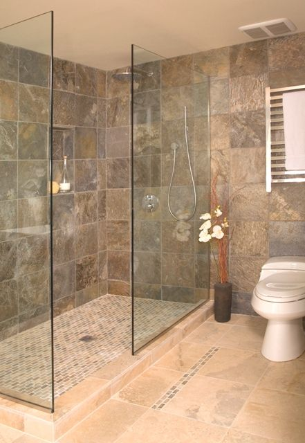 Open shower without door - Portfolio - Interior Designer Seattle ...