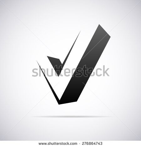 vector logo for letter v in confirm sign shape stock vector