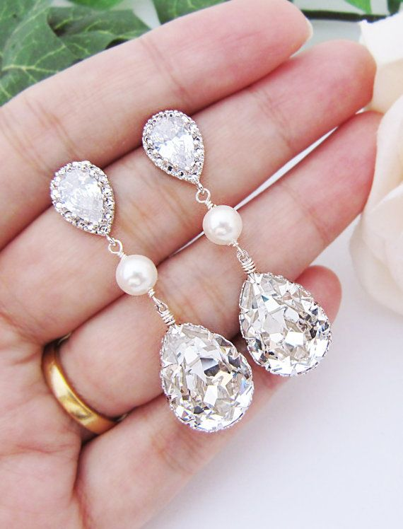 Bridal Earrings Swarovski Crystal With Pearl By Earringsnation