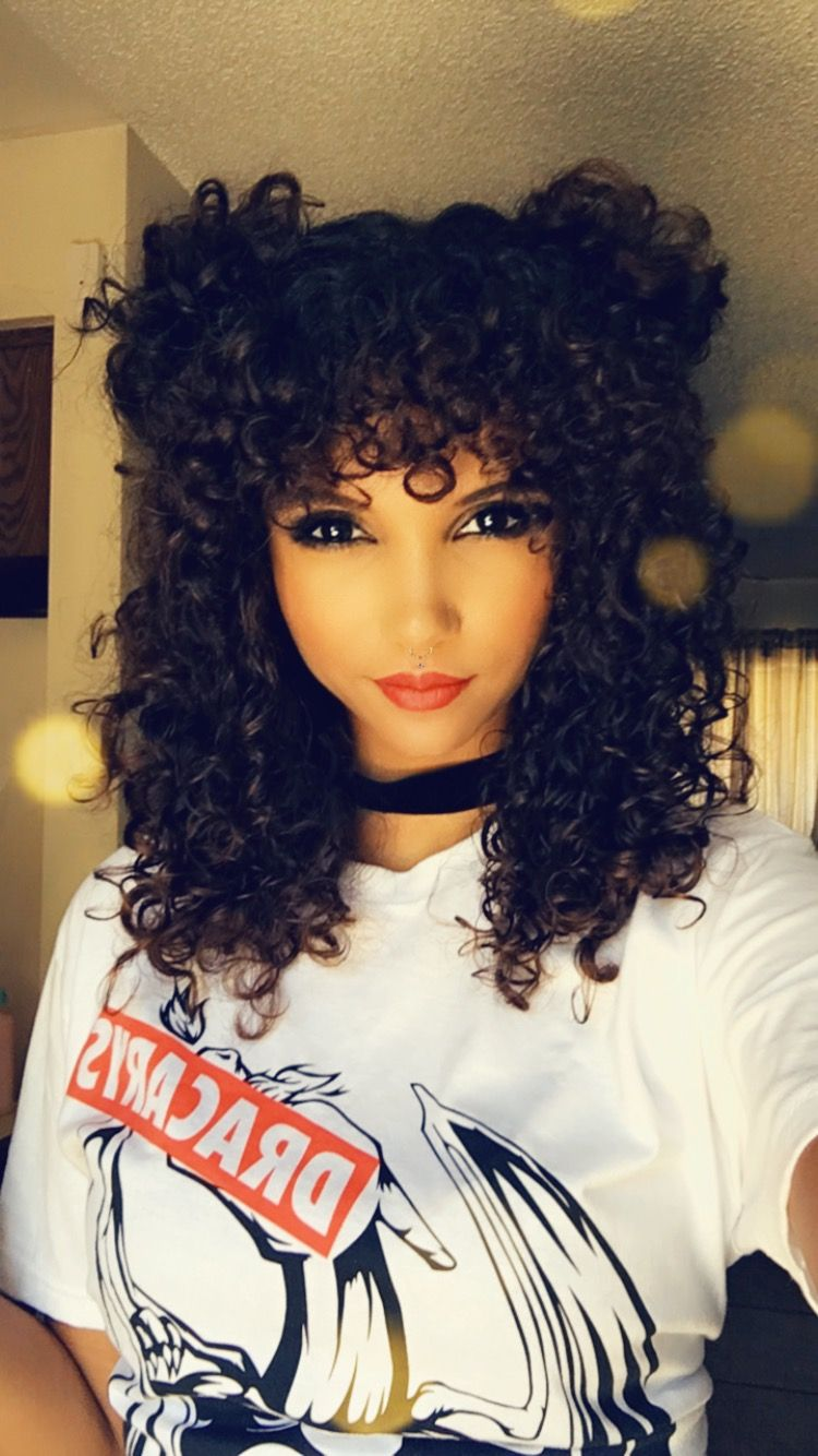 Curly Bangs With Curly Buns Fun Curly Hair Style In 2019