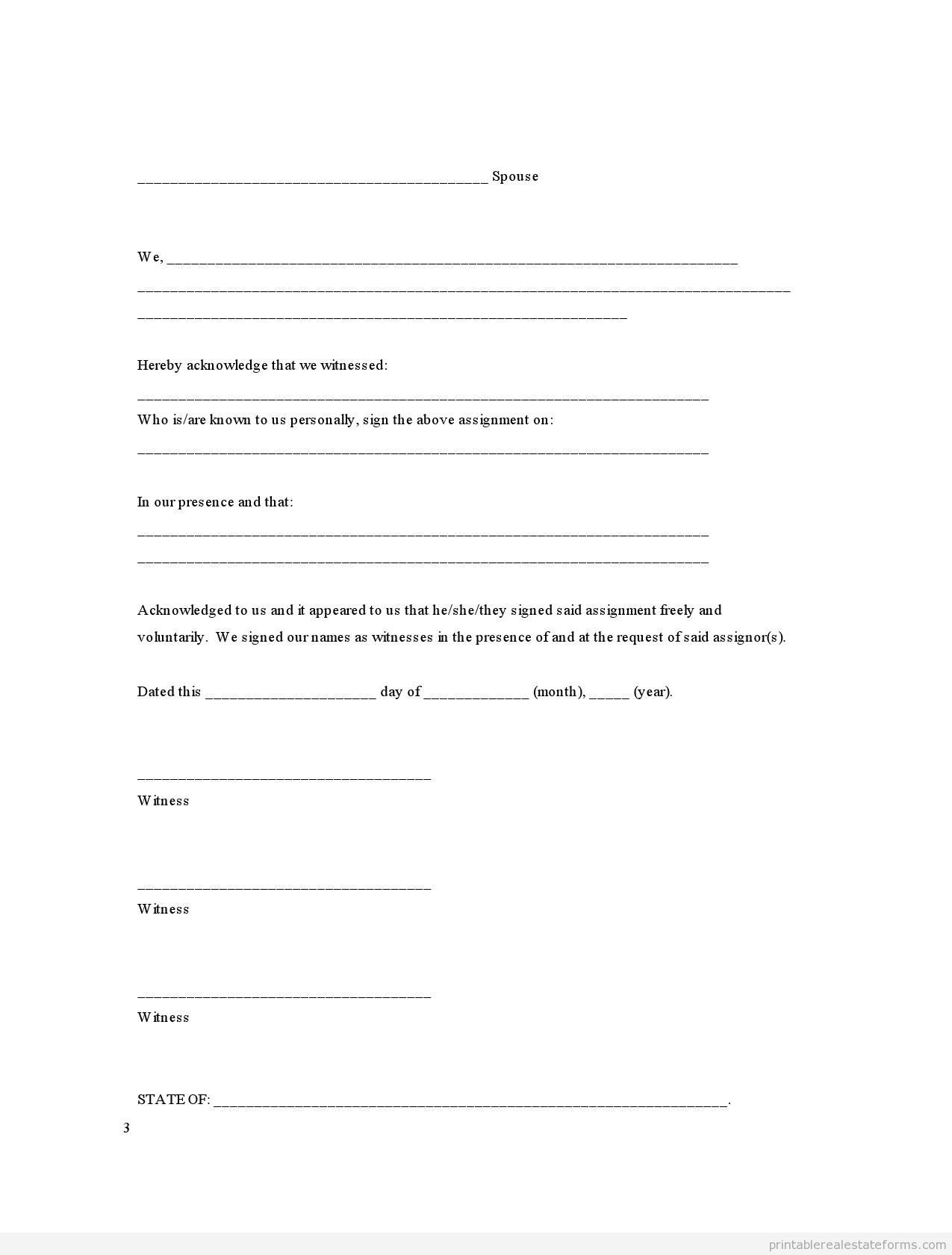 Printable Assignment Joint Ownership With Right Of Survivorship