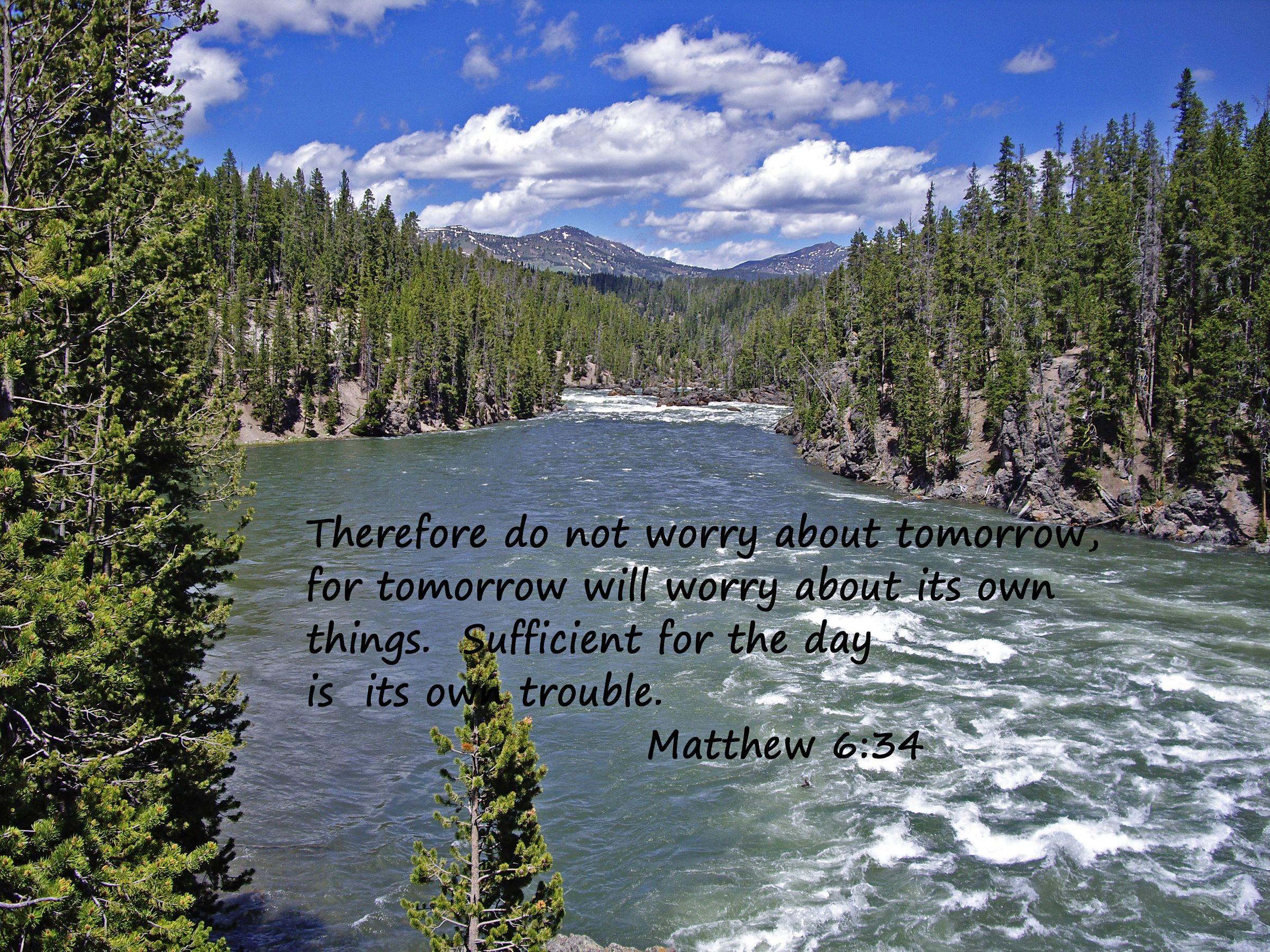 Beautiful Montana Mountain River With Bible Scripture Verse