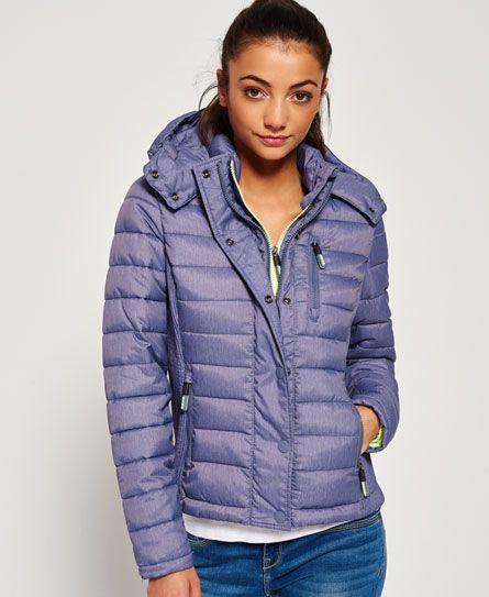 Superdry Slim Fuji Double Zip Hooded Jacket Light Blue