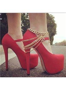Amazing Red Back Chain Stiletto Heel Platform Pumps Spring Shoes: tidestore.com