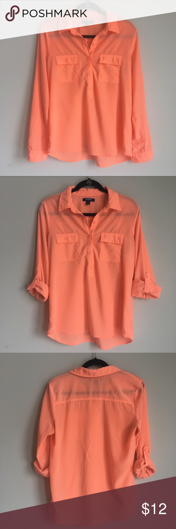 6a264db6 Old Navy bright peach button down shirt Old Navy button down shirt in a  bright orange/peach color. Has two pockets on the chest with button closure.