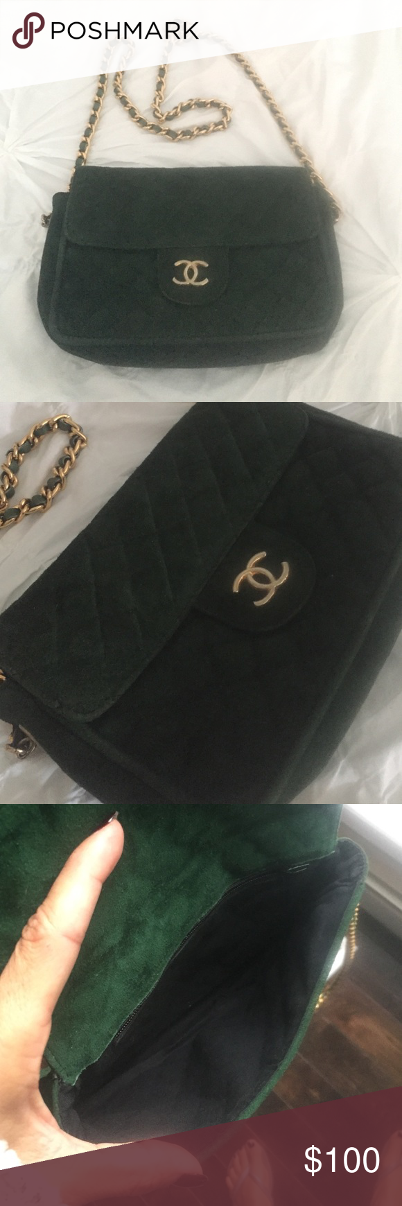 "Very vintage bag??? Extremely old Not sure what the deal is with this bag. The gold tone chain is pretty light weight. Extremely old piece in decent vintage condition.  6""x8""x2"" in size 20"" strap drop. No marking at all of any kind Still gorgeous and very wearable. A deep hunter green suede. Bags Shoulder Bags"