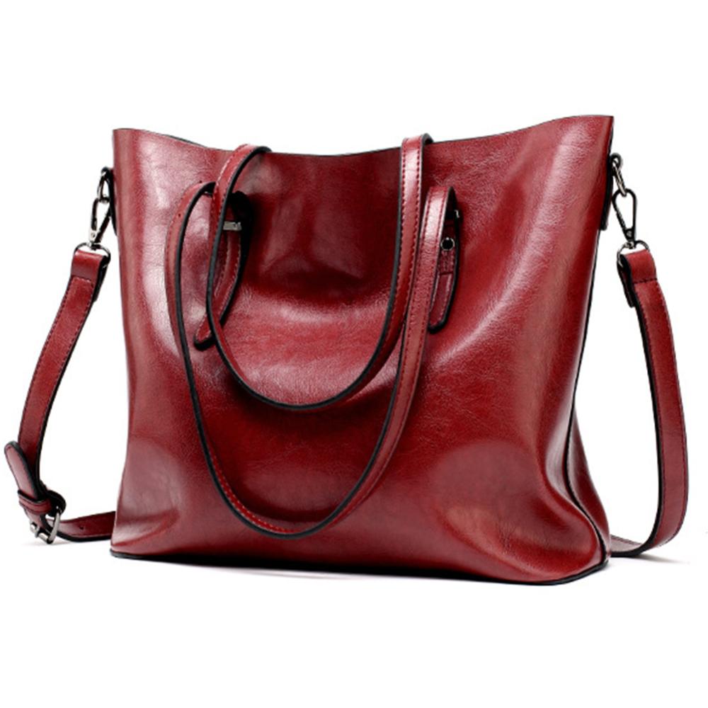 Casual Tote Satchel Shoulder Vintage Storage Handbag Ladies Purse Oily Leather Casual Tote Shoulder Handbags Vegan Tote Bag