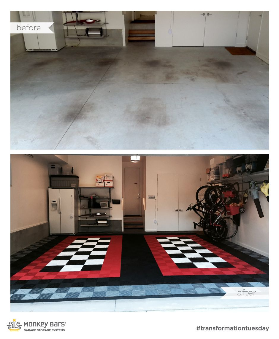 Captivating Amazing Before And After Swisstrax Modular Floor From Monkey Bar Storage.  Swisstrax Can Be Installed Within Just A Few Hours And Looks Gorgeous.