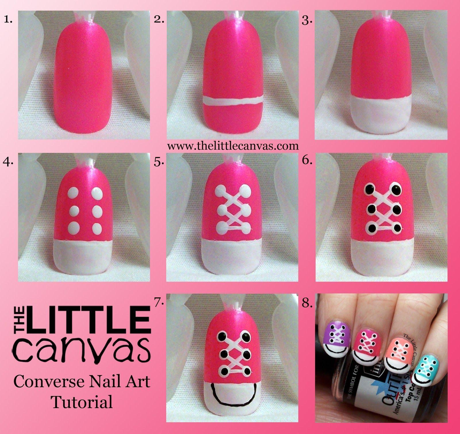 Converse Nail Art Take 2   Tutorial! #converse #nail art diy for beginners #tutorial