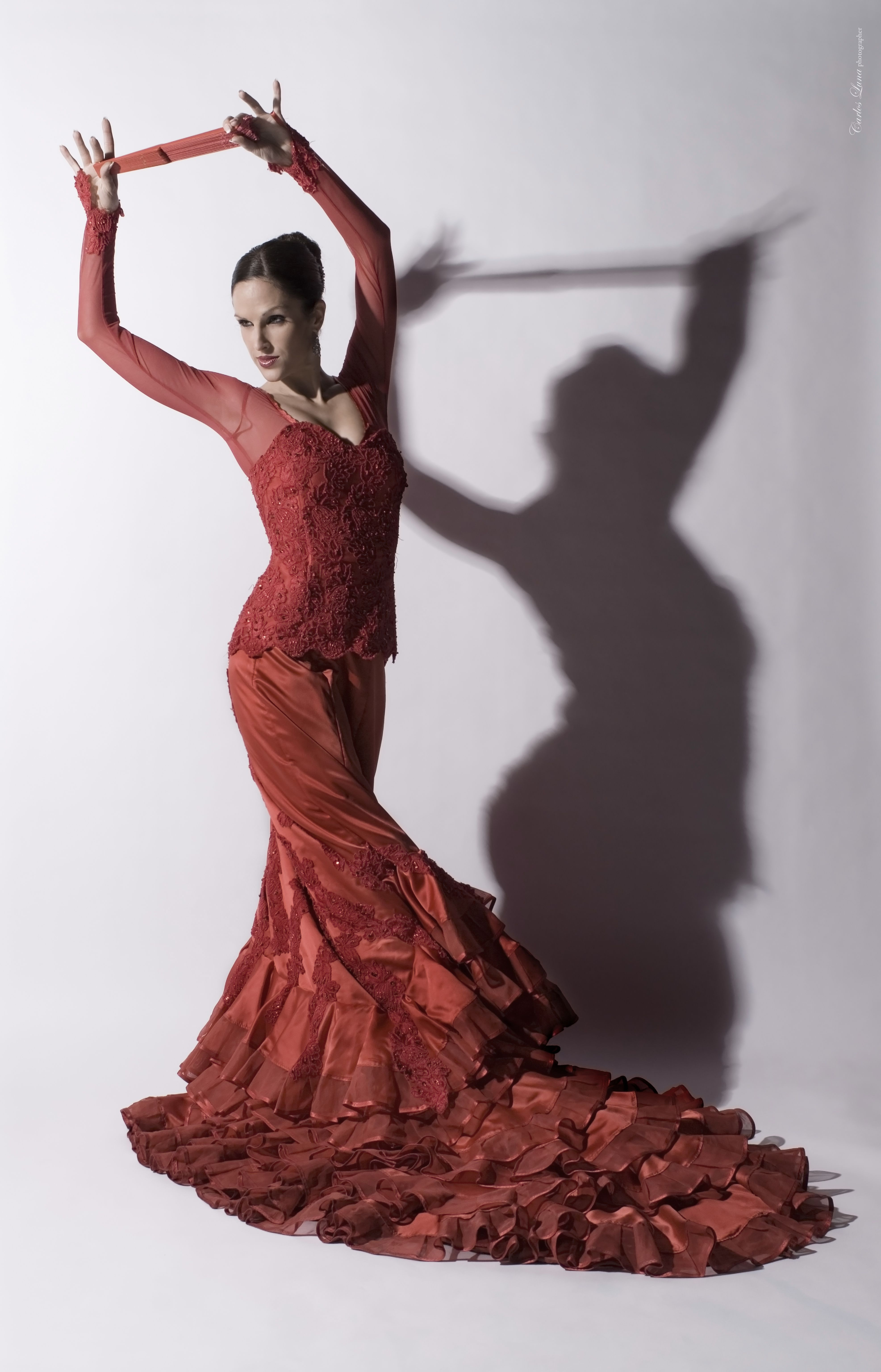 cdd049a2bc4c Flamenco Dress: Red Lace Carlos Luna's photo of dancer Maria Vega, via  www.mariavega.eu
