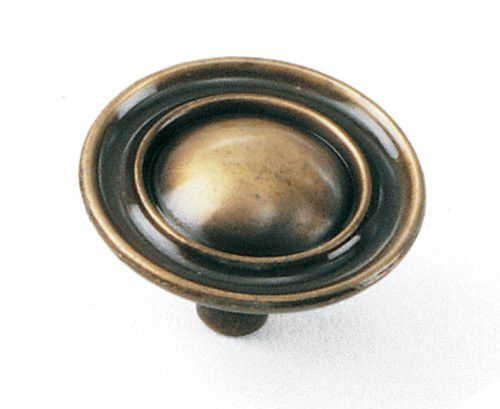 """Kitchen Cabinet Hardware Ambassador Knobs 75905 Antique Brass  1-1/2"""" diam"""