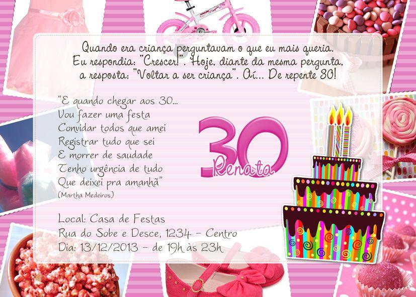 Convite Aniversário De 30 Anos Pesquisa Google Ideas 30 30th