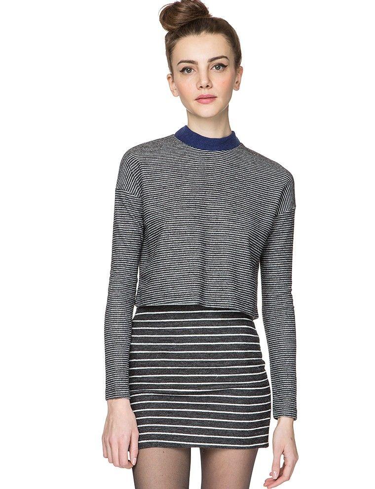 Grey Stripe Two Piece Dress Set - Cute Knit Co Ords - $79