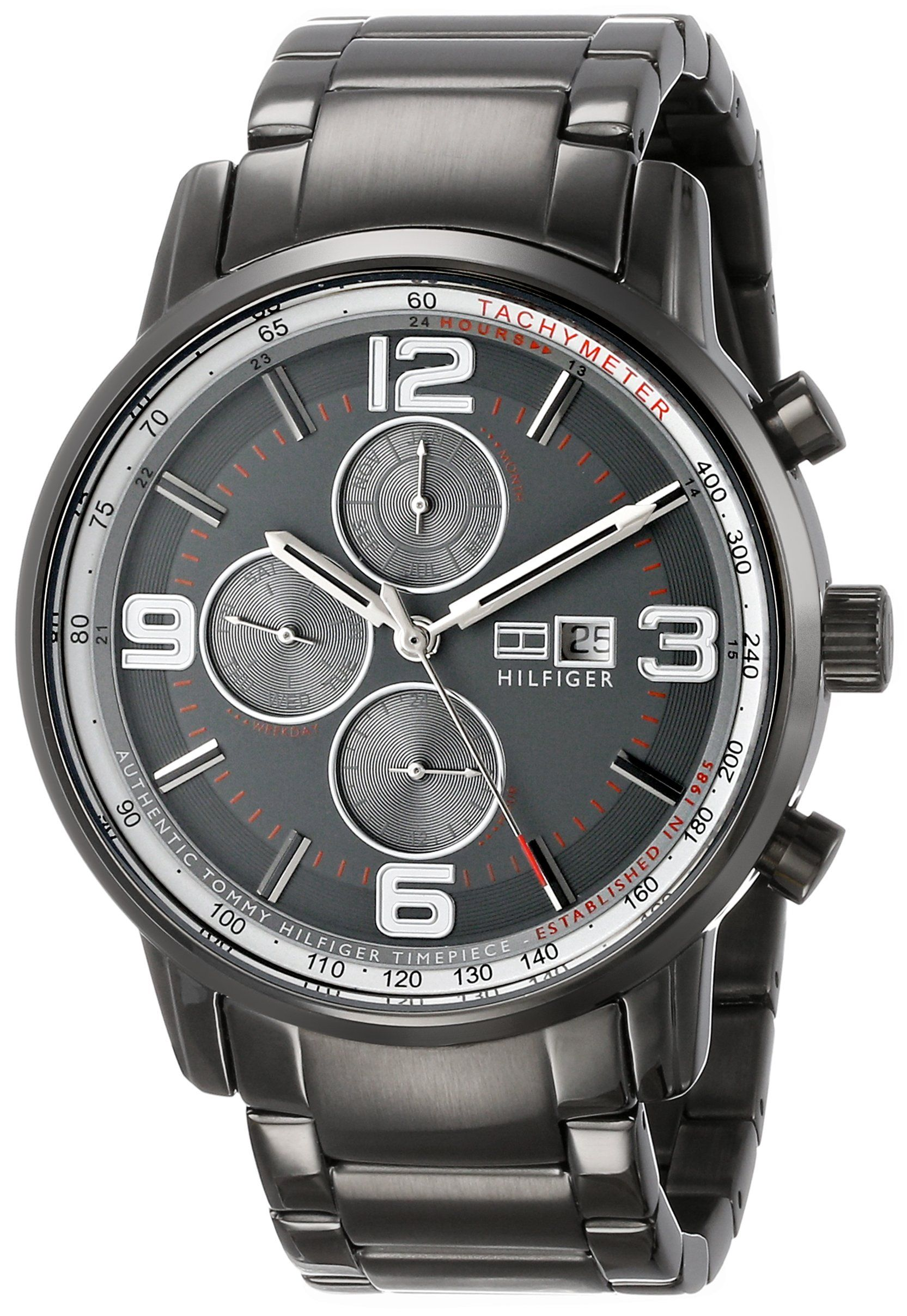 Tommy Hilfiger Men S Gray Ion Plated Stainless