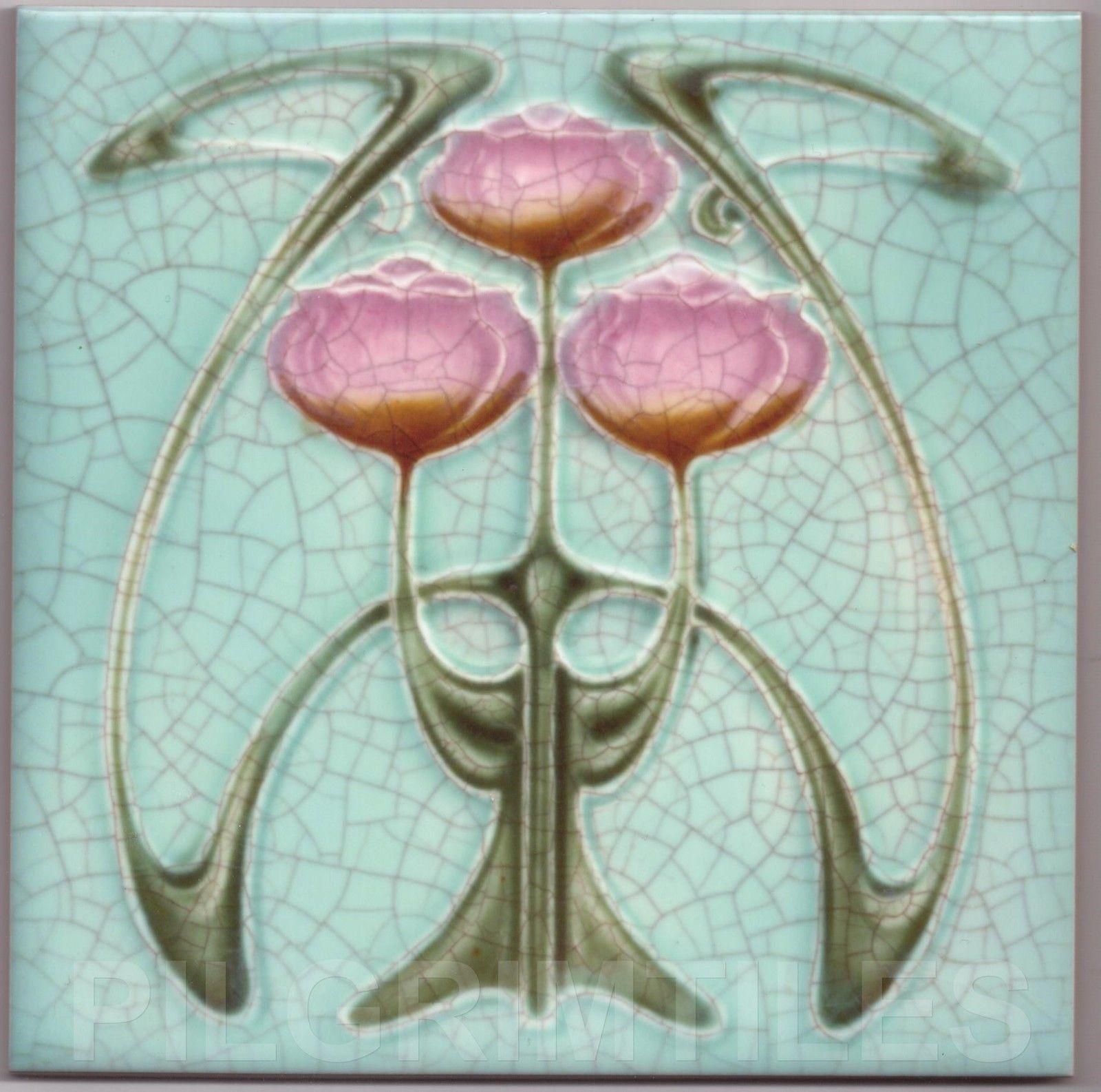 Art Nouveau Arts & Crafts Ceramic Tiles Fireplace Bathroom Kitchen ...