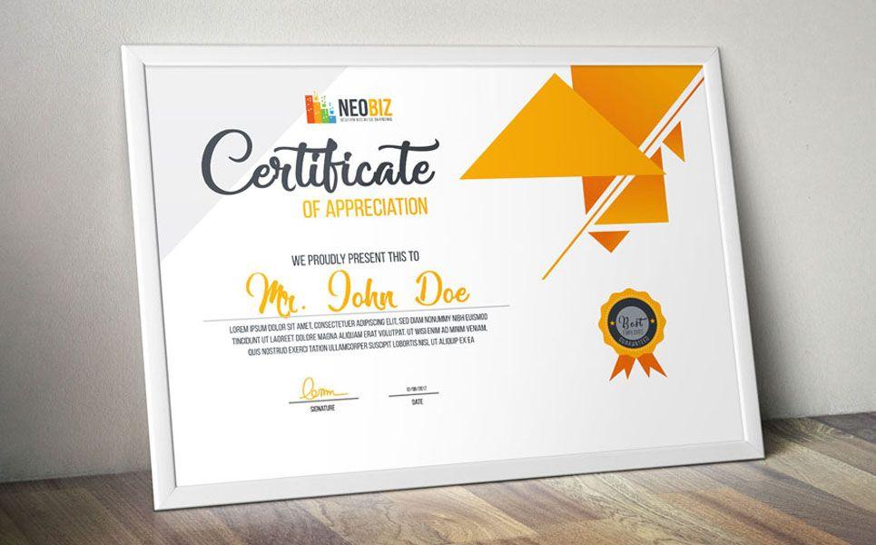Neobiz Modern Certificate Certificate Template Certificate