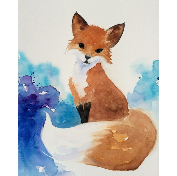 Aquarell Fox Kunst Nursery Art Kinder Von Sweetpeaandgummybear
