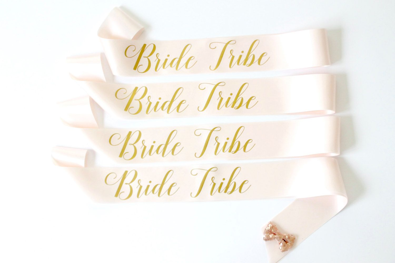 Bride tribe bachelorette sashes in font 3 bachelorette