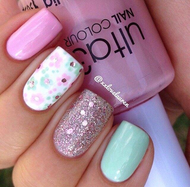Super Cute Spring Nail Ideas - Super Cute Spring Nail Ideas Mani's, Pedi's & Legs Pinterest
