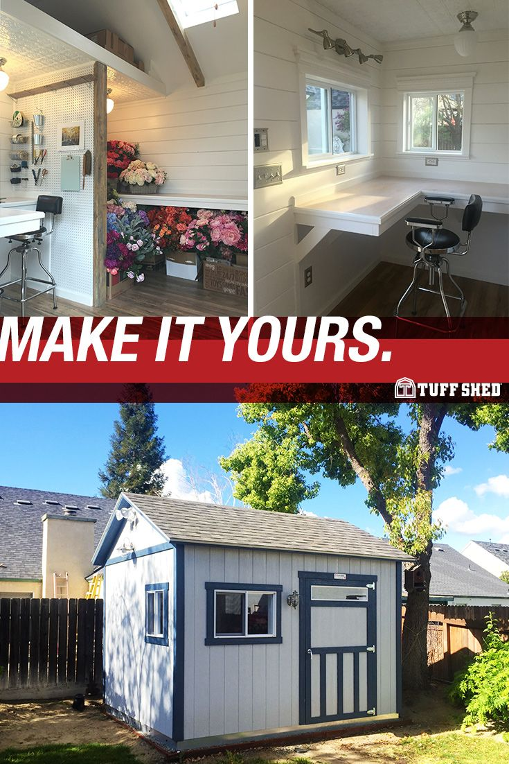 how custom can a backyard shed get pegboards countertops and
