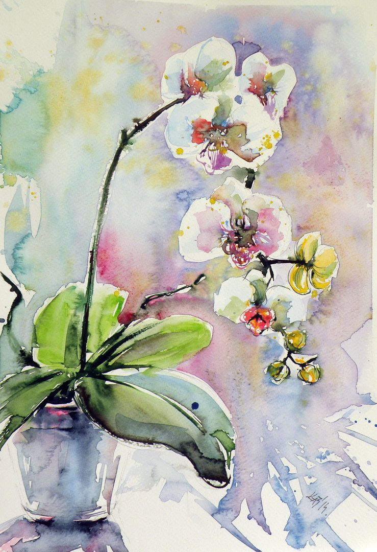 Orchidee Peintures A L Aquarelle Faciles Peinture Fleurs