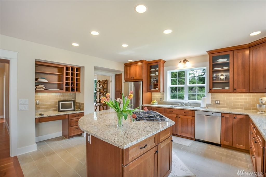 Cherry Cabinets With Light Bright Tile And Counters House Design Kitchen Cherry Cabinets Kitchen Brown Kitchen Cabinets