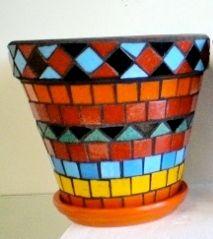 Mosaic Flower Pot- Brenda Arellano, 14 - Lake View H.S. - Mosaic Collaborative - Spring Bridge 2013 - SOLD