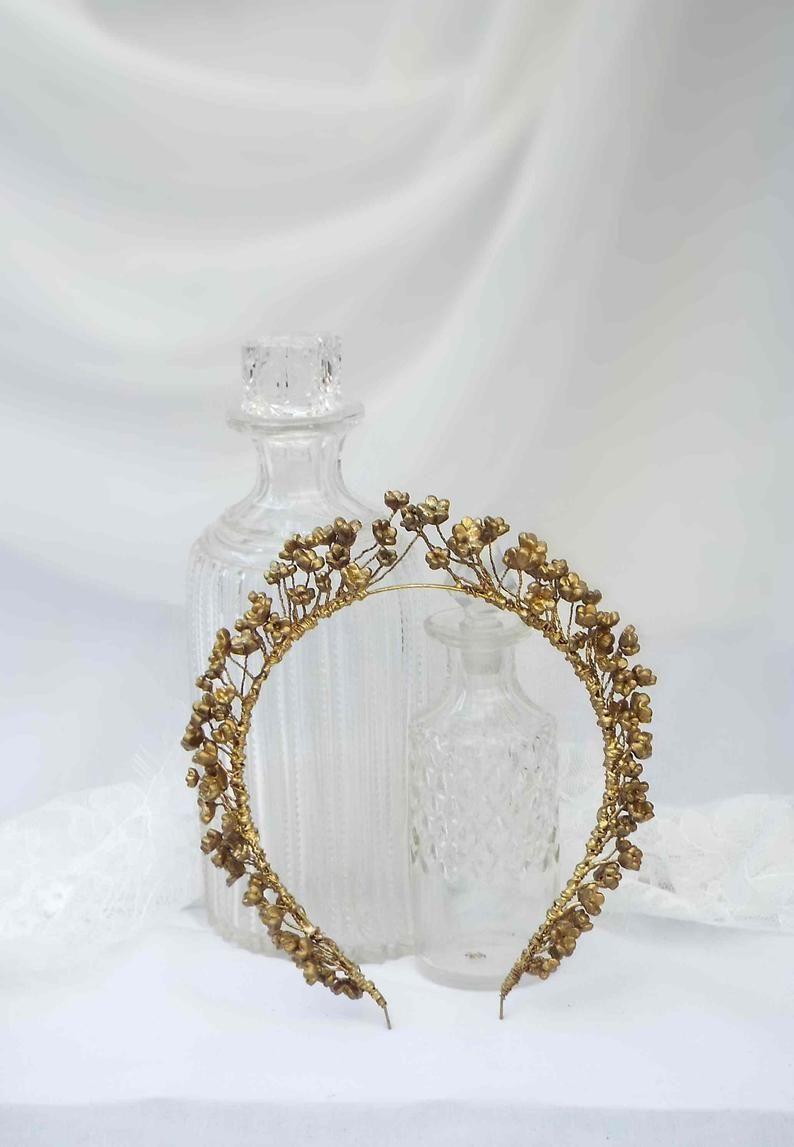 Gold flower headpiece, vintage inspired tiara, golden leaf crown, flower head band, #110