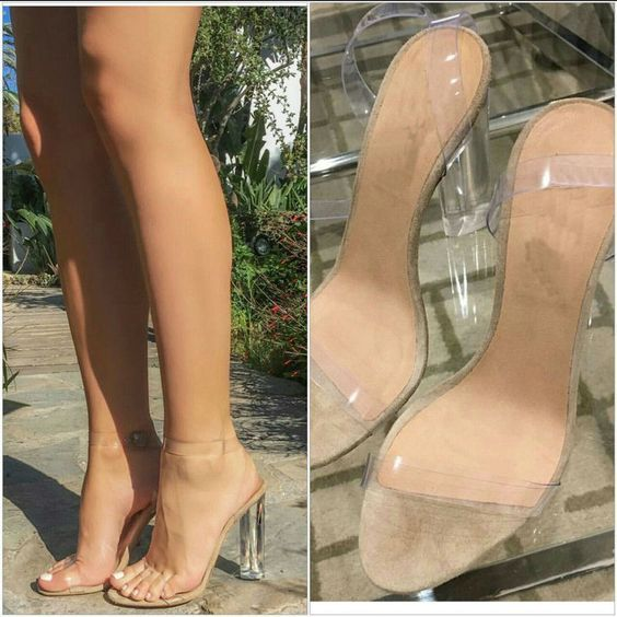 Sexy Kim Kardashian Sandal Women PVC Clear Transparent Heel Plus Size is part of Transparent heels, Trending shoes, Sandals heels, High heel sandals, High heels, Fashion shoes -