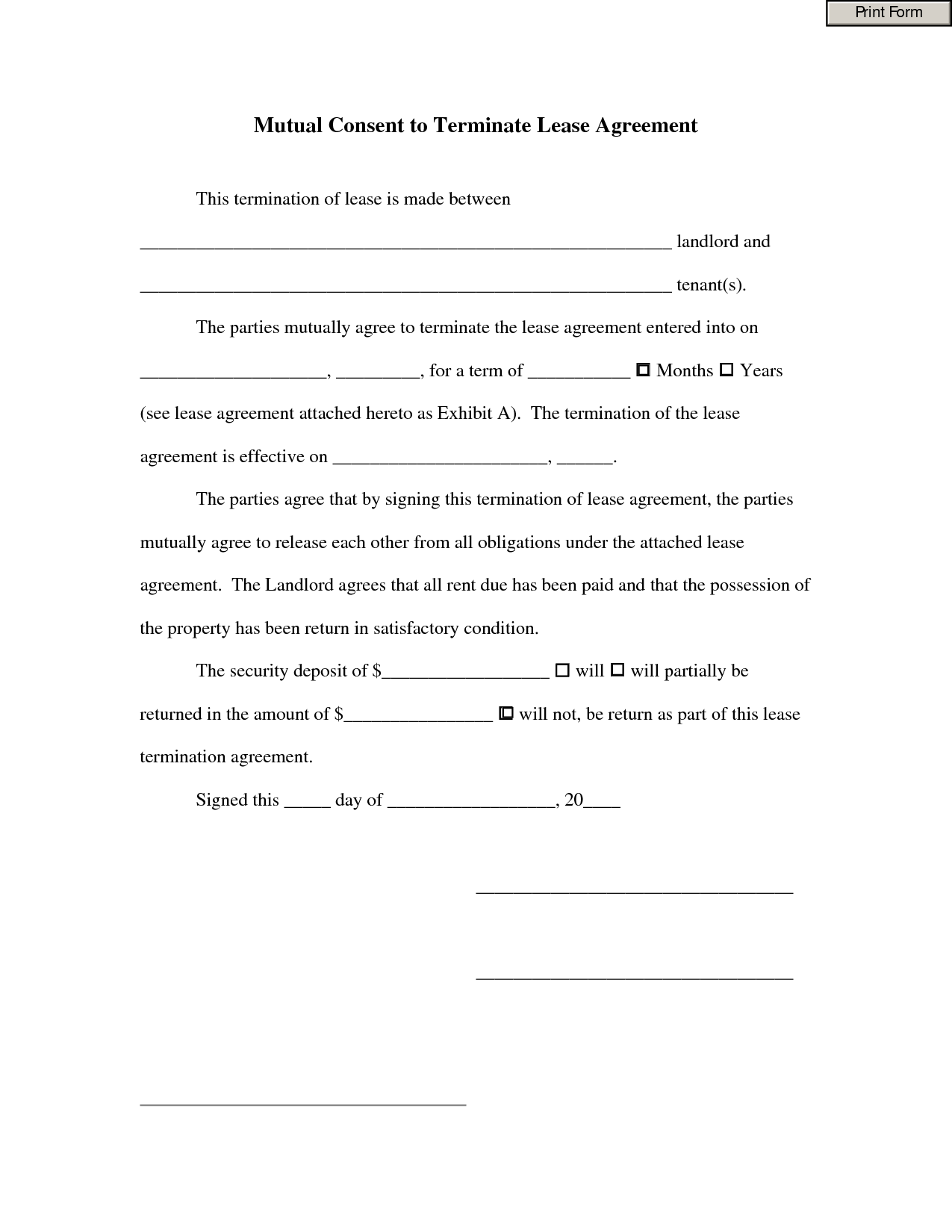 Mutual Consent To Terminate Lease Agreement By Fdh56Iuoui - Termination Of Lease  Agreement Form