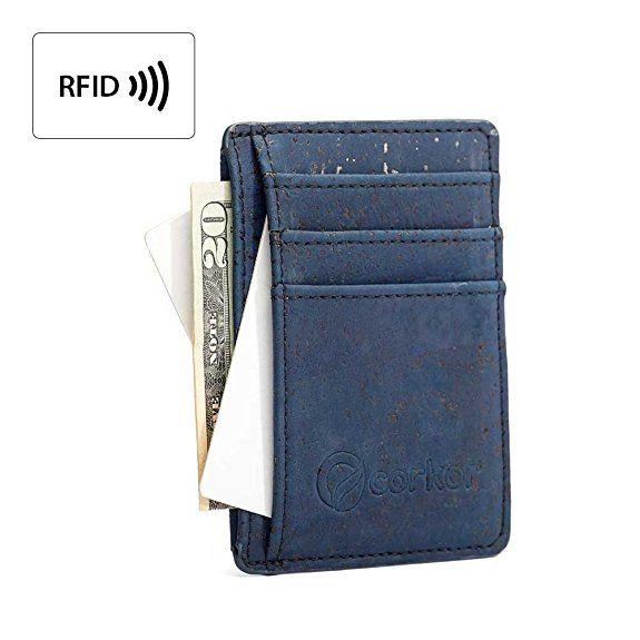 ddd740a2fe Best RFID Blocking Vegan Wallet for Men, Non-Leather Cork Wallet for Men's,  Blue
