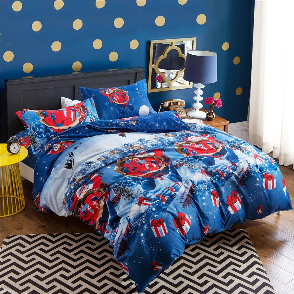 Hot! Christmas Bedding Set for Adult/kids Gift 4pcs Bed Linen ...